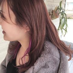 フェミニン ピンクパープル インナーカラー ロングヘア ヘアスタイルや髪型の写真・画像