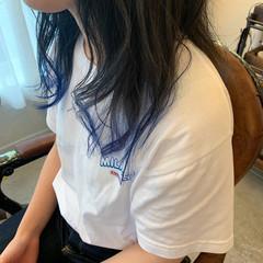 ストリート ブルー セミロング 裾カラー ヘアスタイルや髪型の写真・画像