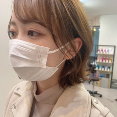 韓国ヘア フェミニン ボブ 外ハネボブ ヘアスタイルや髪型の写真・画像