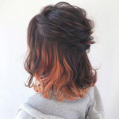 外ハネボブ ヘアアレンジ 結婚式ヘアアレンジ ボブ ヘアスタイルや髪型の写真・画像