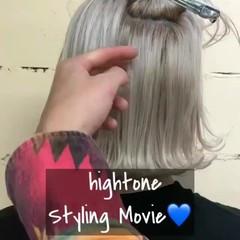 グラデーションカラー ボブ モード ハイトーン ヘアスタイルや髪型の写真・画像