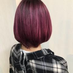 ピンク ボブ ヘアアレンジ モード ヘアスタイルや髪型の写真・画像
