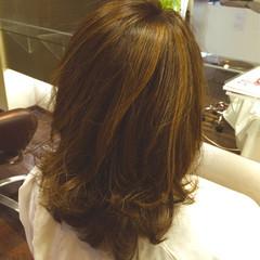 外国人風カラー ロブ ハイライト ナチュラル ヘアスタイルや髪型の写真・画像