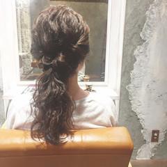 ロング ヘアアレンジ 結婚式 ウェーブ ヘアスタイルや髪型の写真・画像