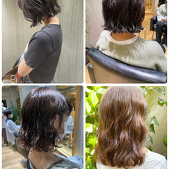 ナチュラル 切りっぱなしボブ 外ハネボブ 前髪パーマ ヘアスタイルや髪型の写真・画像