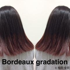 ボルドー グラデーションカラー ストリート 裾カラー ヘアスタイルや髪型の写真・画像
