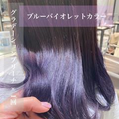 セミロング ブリーチカラー デザインカラー 銀座美容室 ヘアスタイルや髪型の写真・画像