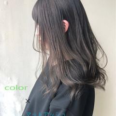 ナチュラル 透明感 ブリーチなし セミロング ヘアスタイルや髪型の写真・画像