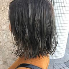 暗髪 ボブ ナチュラル 切りっぱなし ヘアスタイルや髪型の写真・画像