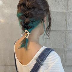 インナーカラー ブルー ミディアム インナーブルー ヘアスタイルや髪型の写真・画像
