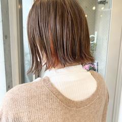 ミニボブ ショートボブ インナーカラー モード ヘアスタイルや髪型の写真・画像