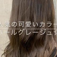 グレージュ ロング フェミニン デート ヘアスタイルや髪型の写真・画像
