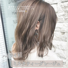 ボブ ミルクティーグレージュ ミルクティーベージュ ハイライト ヘアスタイルや髪型の写真・画像