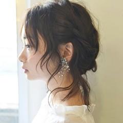 デート 外国人風 編み込み ミディアム ヘアスタイルや髪型の写真・画像