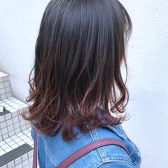 グラデーションカラー ナチュラル 切りっぱなしボブ ハイライト ヘアスタイルや髪型の写真・画像