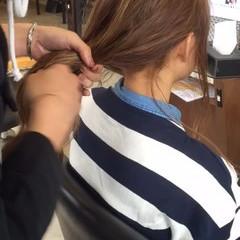 ニット 時短 お団子 セミロング ヘアスタイルや髪型の写真・画像