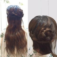 編み込み 甘め ヘアピン ヘアアクセ ヘアスタイルや髪型の写真・画像