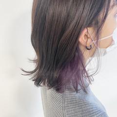 ラベンダー 透明感カラー インナーカラーパープル ボブ ヘアスタイルや髪型の写真・画像