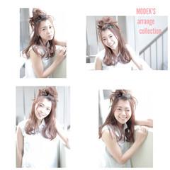 かわいい お団子 ヘアアレンジ ロング ヘアスタイルや髪型の写真・画像