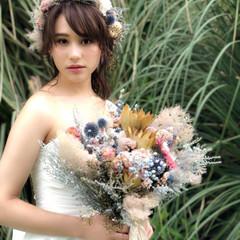 結婚式 フェミニン ブライダル セミロング ヘアスタイルや髪型の写真・画像