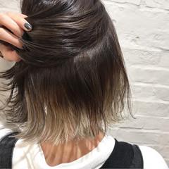 女子力 ガーリー インナーカラー ボブ ヘアスタイルや髪型の写真・画像
