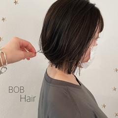 ナチュラル 切りっぱなしボブ ボブ ミニボブ ヘアスタイルや髪型の写真・画像