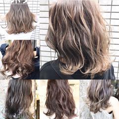 女子力 アッシュベージュ コンサバ ミディアム ヘアスタイルや髪型の写真・画像