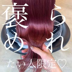 コスメ セミロング ピンクカラー 艶カラー ヘアスタイルや髪型の写真・画像
