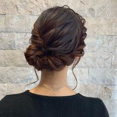 結婚式ヘアアレンジ フェミニン セミロング 結婚式 ヘアスタイルや髪型の写真・画像