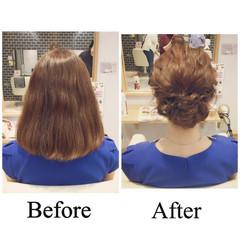 ルーズ アップスタイル セミロング ヘアアレンジ ヘアスタイルや髪型の写真・画像