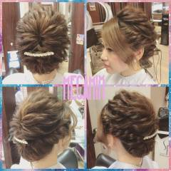編み込み ヘアアレンジ フェミニン 結婚式 ヘアスタイルや髪型の写真・画像