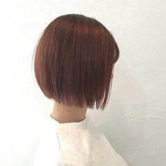 ナチュラル ボブ ピンク イルミナカラー ヘアスタイルや髪型の写真・画像