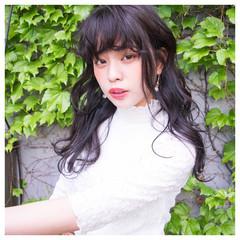 フェミニン セミロング 斜め前髪 色気 ヘアスタイルや髪型の写真・画像