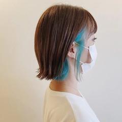 ヘアカット インナーカラー モード ボブ ヘアスタイルや髪型の写真・画像