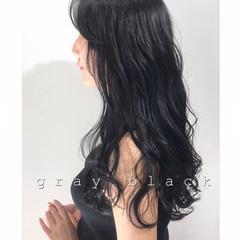 暗髪 ネイビー アッシュグレージュ モード ヘアスタイルや髪型の写真・画像