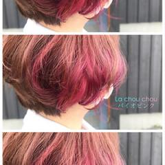ピンクラベンダー ボブ エレガント インナーカラー ヘアスタイルや髪型の写真・画像