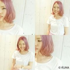ボブ レッド センターパート ピンク ヘアスタイルや髪型の写真・画像