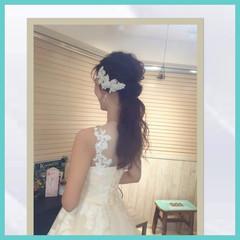花嫁 パーティ ロング ブライダル ヘアスタイルや髪型の写真・画像