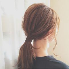簡単ヘアアレンジ セミロング オフィス デート ヘアスタイルや髪型の写真・画像