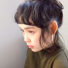 ヘアアレンジ ガーリー 黒髪 ボブ ヘアスタイルや髪型の写真・画像