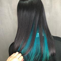 裾カラー ストリート スポーツ ターコイズブルー ヘアスタイルや髪型の写真・画像
