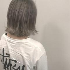 シルバー ガーリー ボブ ホワイト ヘアスタイルや髪型の写真・画像