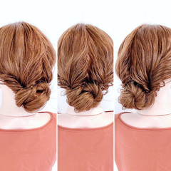 ロング アップスタイル 簡単ヘアアレンジ セルフヘアアレンジ ヘアスタイルや髪型の写真・画像