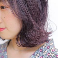 バレイヤージュ 外国人風カラー ピンクパープル 透明感カラー ヘアスタイルや髪型の写真・画像