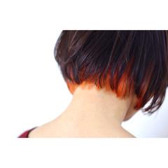 フェミニン 内巻き オレンジ インナーカラー ヘアスタイルや髪型の写真・画像