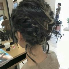 編み込み ミディアム 後れ毛 モード ヘアスタイルや髪型の写真・画像
