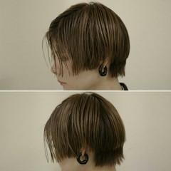 ショート 外国人風 切りっぱなし 暗髪 ヘアスタイルや髪型の写真・画像