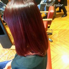 ピンク ボブ 暗髪 グラデーションカラー ヘアスタイルや髪型の写真・画像