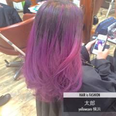 ブリーチ ピンク アッシュバイオレット ロング ヘアスタイルや髪型の写真・画像