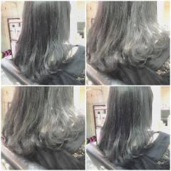 ミディアム ガーリー ゆるふわ 黒髪 ヘアスタイルや髪型の写真・画像